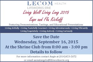 Save the Date LWE Expo and Flu Kickoff 2015 with LECOM Health Logo